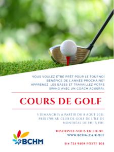 Cours de golf 2021